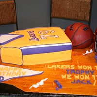 Lakers Birthday Cake Made this for Father in law. All edible cake or RK.