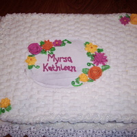 Birthday   Basket weave and royal icing flowers
