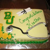 Graduation Cake For Pre-Med Student  This cake was for a high school graduate who will be attending Baylor University pre-med and then will finish at Baylor Medical School. The...
