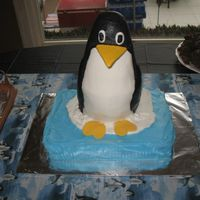 3D Penguin Cake   I did this cake for a friend's going away party. She loves penguins!
