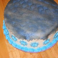 1St Attempt At Fondant Funfetti cake inside, bc icing. white fondant w/patterned tablecloth dusted w/midnight blue lusterdust. (did not like working w/that at all...