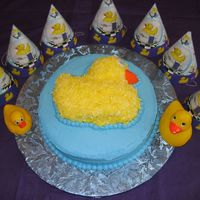 "Duck Cake This is what our guests feasted on for my son's 1st birthday. I did a single layer, 16"" chocolate, bavarian filled cake for the..."