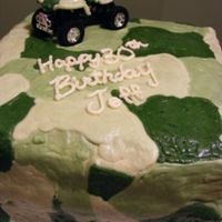 Camo.jpg   Camo cake for a friend's husband. He is a hunter/fisherman and she wanted something small.