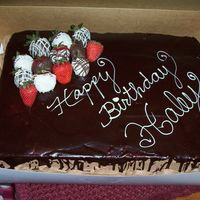 Haley Birthday 1/2 sheet chocolate with choc buttercream; writing in white chocolate