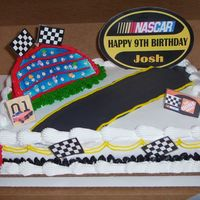 000_2131.jpg Nascar Birthday Cake - 1/4 sheet chocolate with buttercream. Nascar sign and flags printed and covered in clear Contact paper. Two racing...