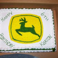 J Deere 1/2 sheet white cake with buttercream frosting