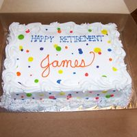 Retirement-J. Reynolds 1/2 sheet white cake/buttercream frosting. The dots & colors match the invitations
