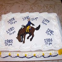 Reunion Cake For Roughriders White sheet cake, buttercream frosting; colorflow roughrider