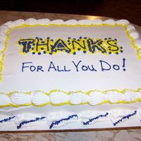 Thank You Cake 1/2 sheet white with buttercream