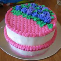 Pink Basket Of Purple Roses More buttercream roses...
