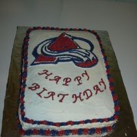 Colorado Avalanche Hockey   My grandson's favorite hockey team, he loved his cake. White cake with BC frosting.