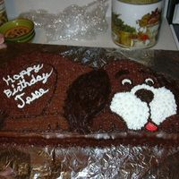 Birthday Puppy   My first pan cake, used chocolate frosting and then darkened the color for the ears and tail.