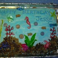 Insaniquarium Game  My grandson liek to play the Insaniquarium game so I did his birthday cake in that theme. I used fruit roll ups for the plants and gram...