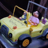 Dora's Jeep The Jeep is vanilla cake with caramel(Dulce de leche) and Strawberry BCC filling.