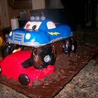 Dalan Monster Truck I made this cake for my grandson for his 5th birthday. I used pund cake for the truck body; chocolate cake mix for the support underneath...