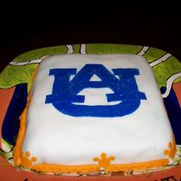 Auburn Birthday Cake My neice wanted a cake with Auburn University symbol on it. The cake is also on an orange and blue plate.