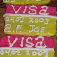 Credit Card Cookies nfsc with alices cookie icing the writing is done in Sweet Annie's Cookie Icing provided to me by mis lost my # 1 tip so the writing...