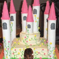 Kasandras Castle. chocolate cake with bc icing. towers are pvc wrapped in fondant. used ice cream cones for the tops. want to say thanks to beachcakes for...