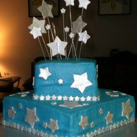 A Star Is Born This is a cake we did back in January for a friend. cream cheese buttercream. white cake. fondant stars.