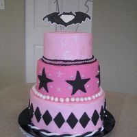 Kate's Pink And Black Cake! I made this cake for my older daughter's 15th birthday. She didn't want a fondant covered cake so I used buttercream. WASC cake,...