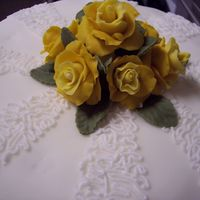Practice Cake This is the bottom tier of the cake. It is MMF with BC cornelli lace design. The roses and leaves are also fondant.