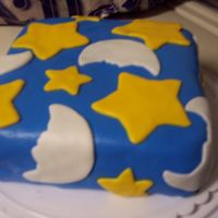 Stars And Moons Sorry the picture is blurry, I was in a hurry. My first MMF cake after the Wilton Courses. My mom thought the stars were made of american...