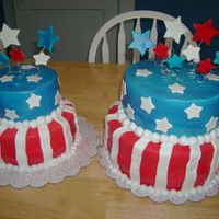 4Th Of July Cakes  The cakes were the same, except for the one is a smaller version. The bottom tier is chocolate cake with peanut butter filling, the top is...