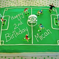 Micah's Soccer Cake My standard chocolate sheet cake, filled with buttercream and fresh strawberries. Frosted with green tinted buttercream to replicate a...