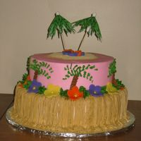 Tropical Luau Graduation Cake