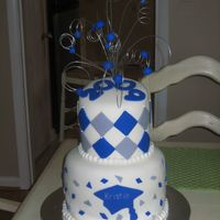 Gray And Blue Generals Graduation 3 Girls graduation cake, fondant, gray and blue school colors