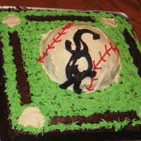 Sox Cake Used half of sports ball pan. Buttercream frosting.