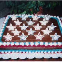 July 4Th   Hershey's Chocolate cake and frosting with candy melt stars