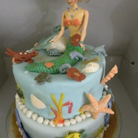 Little Mermaid yellow cake with dulce leche filling, covered in fondant