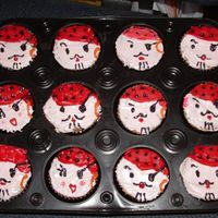 Pirates Cupcakes This is my very first try at cupcakes. Yellow cake with heath bar cupcakes. Decorated in buttercream.