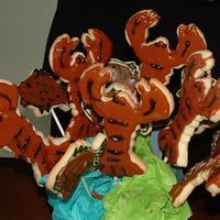 Lobster Dinner 1st attempt at cookie decorating. Lobster cookie cut out using no fail cookie recipe.