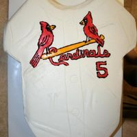 Cardinals Jersey Birthday Cake Made for a 5 year old little boy. modeled after a cake by Helipops (thanks for the help!) He loves Pujoles and he was turning 5 so that...