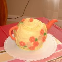 Teapot For Lauryn Baby Shower cake for the first girl born into our group of friends. Lemon cake with lemon chiffon icing and marzipan accents. Tasted great...