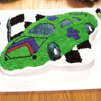 Racecar My son's 4th birthday cake. French Vanilla cake with ready made buttercream frosting.