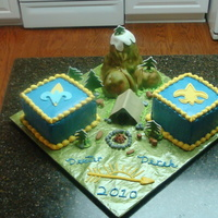 Cub Scout - Boy Scout Crossover Cake This cake was created to celebrate my nephews crossover from cub scouts to boy scouts. The square cakes are chocolate w/peanut butter...