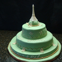 Beautiful Day In Paris Marshmallow fondant with gum paste accents.
