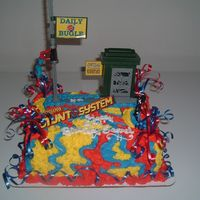 Spiderman Hanging From The Sign By Kline's  Hi Everyone,This cake was so much fun to make. It's Spiderman hanging from the sign...Please check out my other cakes...VictorVictor...
