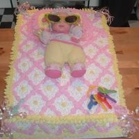 Full Bed Baby Shower Cake   This is a full sheet / double layer baby shower cake...by Victor Kline