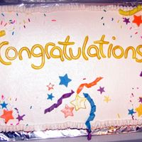 Congrats Cake A girl at work was promoted so I made this for her. I added bunchesof foam stars, on wire, to the cake later.