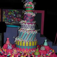 Girly-Curly Fashion Cake  I made this for a grand 7th bday celebration. Cakes are covered in fondant and decorated with gumpaste flowers, curls and circles; while...