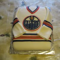 Edmonton Oilers Jersey  This is an 11x15 sheet cake with MMF. I have been really looking forward to doing this one. Got the inspiration from this web site (thanks...