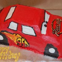 Mcqueen Used the Wilton 3D car cake pan and the images on it are all FBCT. Put the birthday boys name on his trunk.