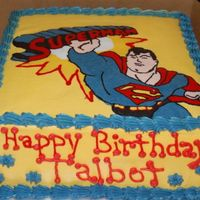 Superman! My sons 6th birthday. Superman is FBCT.Chocolate, chocolate cake with sugar cookie middle. Vey yummy.