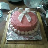 Isabella's Birthday Cake I made this for my daughter's second birthday. White cake, vanilla buttercream, fondant decorations and strawberry filling.