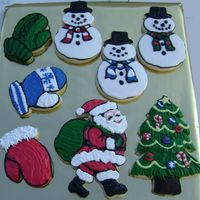 Christmas Cookies Cutout sugar cookies decorated with cookie icing.