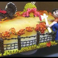 I'm Outa Here! Sheet cake iced and decorated with buttercream icing. Turkey is a cookie, haystack a cupcake and hatchet white chocolate, farmer is figure...
